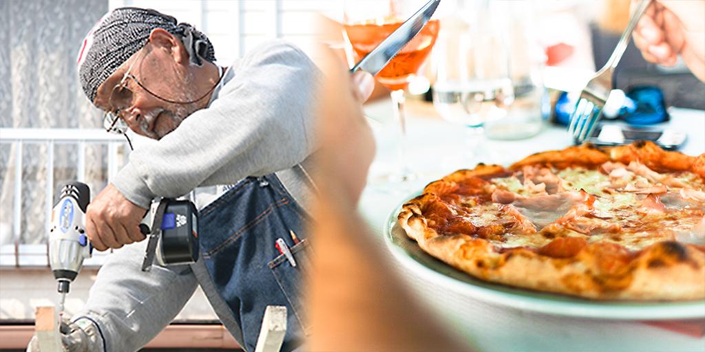 大工とピザ